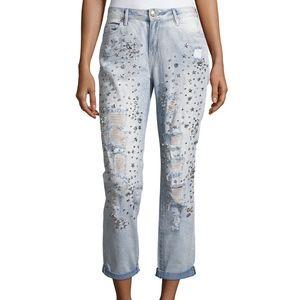True Religion Embellished Boyfriend Denim Jeans 28